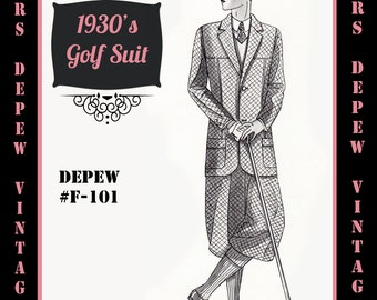 Menswear Vintage Sewing Pattern 1930's Men's Golf Suit Coat and Trousers in Any Size Depew F-101 - Plus Size Included -INSTANT DOWNLOAD-