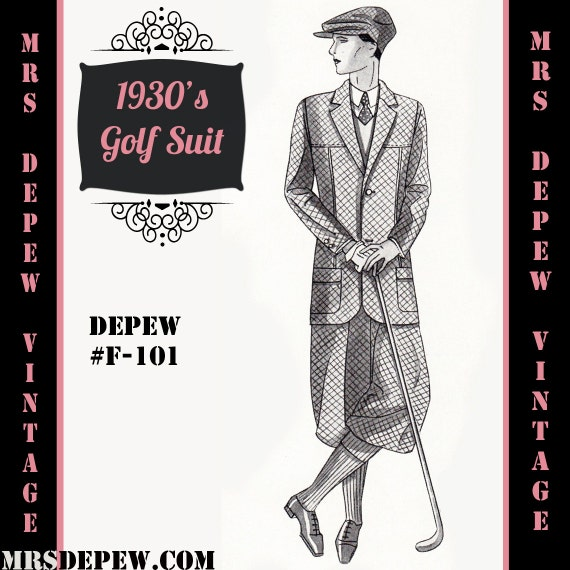 Men's Vintage Reproduction Sewing Patterns Pattern 1930s Mens Golf Suit Coat and Trousers in Any Size Depew F-101 - Plus Size Included -INSTANT DOWNLOAD-  AT vintagedancer.com