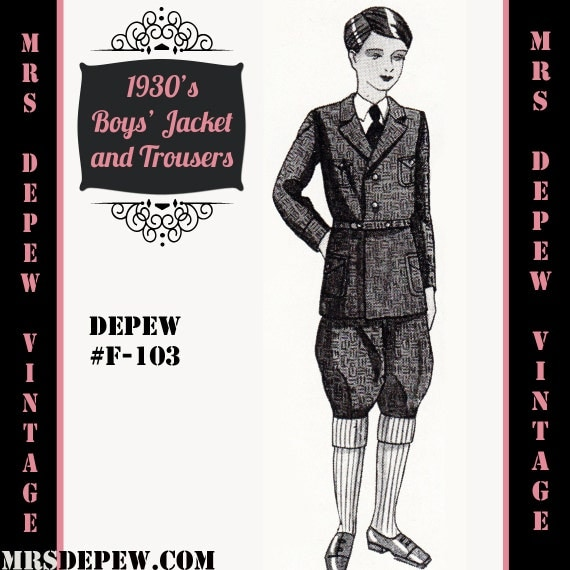 Steampunk Kids Costumes | Girl, Boy, Baby, Toddler 1930s Boys Jacket and Trousers in Any Size Depew F-103 - Plus Size Included -INSTANT DOWNLOAD-  AT vintagedancer.com
