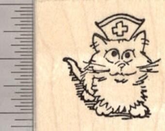 Get Well Cat Rubber Stamp, Kitten Nurse D23617 Wood Mounted