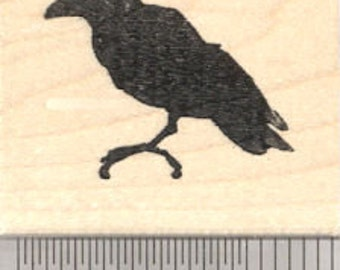 Raven Rubber Stamp, Silhouette Crow, Blackbird D25516 Wood Mounted