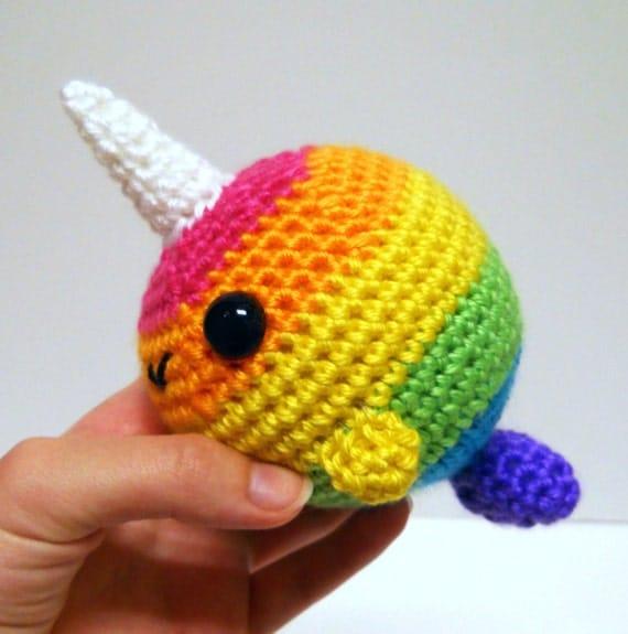 Crochet Amigurumi Narwhal : Crocheted Rainbow Narwhal Amigurumi Plushie Bright Rainbow
