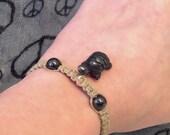 Hematite Turtle Hemp Bracelet (STB-03)