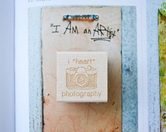 Camera Rubber Stamp - Photography Stamp - Kawaii Stamp - I love photography