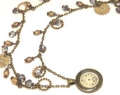 Victorian Bohemian Cogs, Wheels, Pearls, and Watch Face Necklace