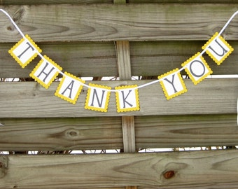Thank You Banner in Grey and Yellow - Wedding Photo Prop Sign