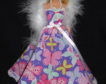 3 Piece Outfit Purple with Butterflys and Lace Gown Barbie Doll Dress Handmade with Boa and Necklace