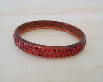 1920s Celluloid Ruby Red Rhinestone Bracelet -