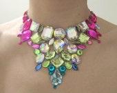 Pink and Blue Rhinestone Statement Bib Necklace, Unique Statement Necklace, Jeweled Bib Necklace, Crystal Bib Necklace