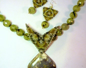 SALE Into the Mystic - Moss Agate & Green Tourmalated Quartz Necklace