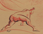 Sumo Girl Female Nude Original Fine Art  Ink Brush and Colored Pencil