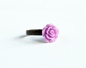 Lilac purple rose delicate adjustable ring