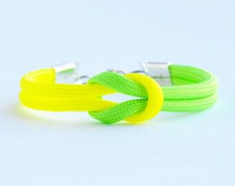 Neon lemon lime forever knot parachute cord rope bracelet