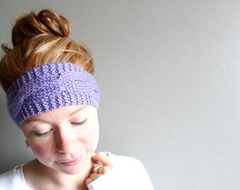 womens knit headband in LILAC (vegan friendly - custom colour)