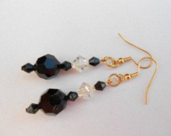 Black Crystal Earrings Sparkling Crystal on Gold -