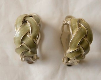 Vintage Clip On Earrings Light Green Weaved with Silver Tone