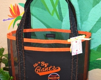 Tote Bag Embroidered San Francisco Giants Baseball Orange and Black Fabric and Vinyl Mesh
