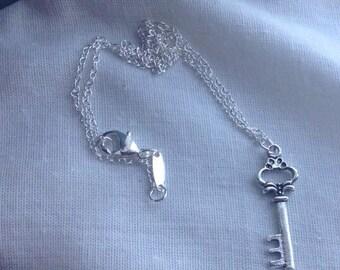 Silver Skeleton Key Necklace, Key Jewelry, Key Necklace,