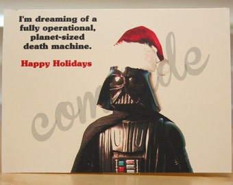 Star Wars Christmas card - Holiday card - Darth Vader - funny - geeky - nerdy