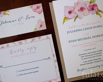 "Watercolor Flowers Wedding Invitation Sample - ""Louisville"""