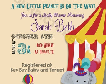 Under the Big Top Baby Shower Invitations
