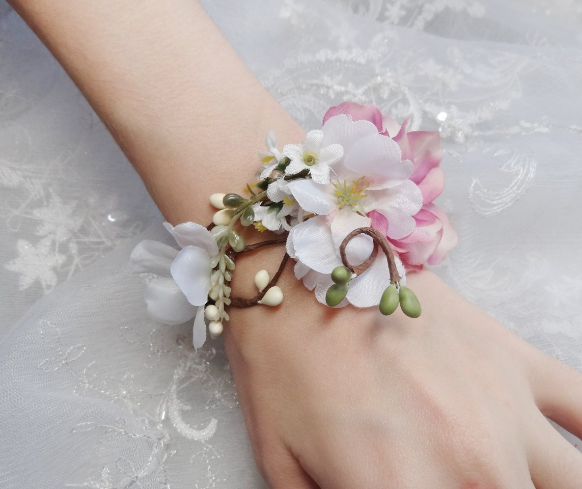 Wrist Corsages Wedding: Wedding Cuff Bracelet Bridal Bracelet Pink Flower Accessory