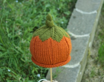 PATTERN Knit Pumpkin Hat - 5 sizes Newborn, 3-6 mth, 12-18 mth, 2-3 years and youth PATTERN