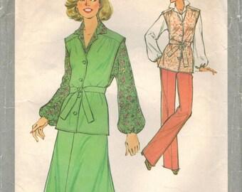 1970s Simplicity 8475 Vintage Sewing Pattern Misses Vest, Skirt, Pants, Blouse, Tie Belt Size 14 Bust 36