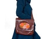 Vegan Porthole Handbag, Features Adjustable Strap, Brown Faux Leather, and Floral Panel