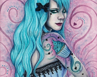 Cupcake PRINT Sweet Things Series Bubblegoth Goth Tattoos Pastel Goth Gothic Pink Turquoise Teal Hearts Portrait 3 SIZES