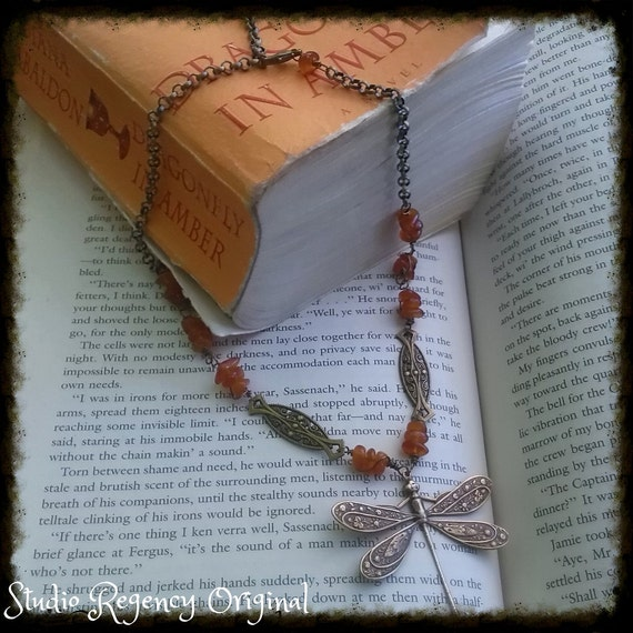 Outlander Necklace - Dragonfly in Amber Necklace -  Amber Necklace - Diana Gabaldon Inspired - Outlander Jewelry - Outlander Theme Necklace