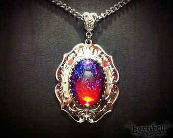Dragon's Breath Glass Fire Opal Necklace - Mexican Fire Opal - Victorian Jewelry - Gothic Jewelry