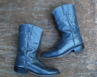 Charcoal gray leather COWBOY BOOTS / leather ropers / Made by JUSTIN / size 5.5 B