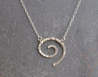 Handmade hammered silver swirl necklace