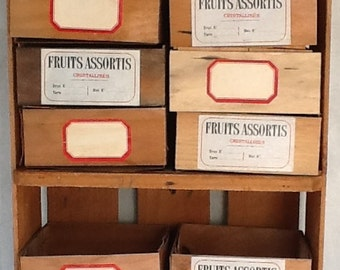 Vintage Two Shelf Fruit Crate Cabinet with 12 Berry Storage Crates French Produce Labels