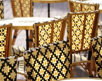 "Paris Photography, ""Yellow Cafe Chairs"" Paris Print, Large Art Print Fine Art Photography, Chair Photo"