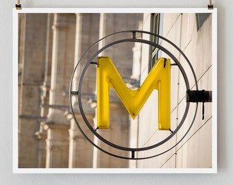"Paris Photography, ""Yellow Metro"" Paris Print Extra Large Wall Art Prints, Paris Wall Decor, Personalized Art, Letter M"