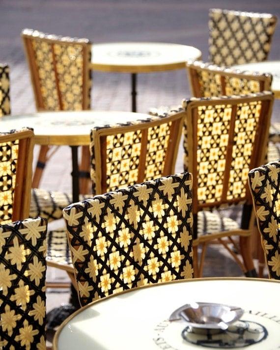 "Paris Photography, ""Yellow Cafe Chairs"" Paris Print, Large Art Print Fine Art Photography, Chair Photo"