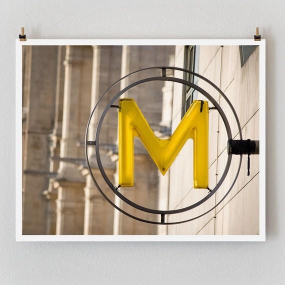 """SALE! Paris Photography, """"Yellow Metro"""" Paris Print Extra Large Wall Art Prints, Paris Wall Decor"""
