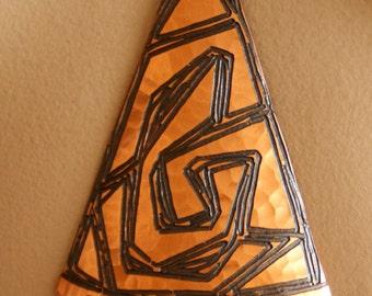 Superb Moda of Malta modernist 1970s large hammered copper pendant