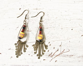 BoHo Brass Dangle earrings, Trade Beads, Southwest Jewelry