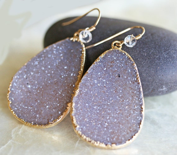 Large Neutral Shaded Druzy Earrings with Moonstone
