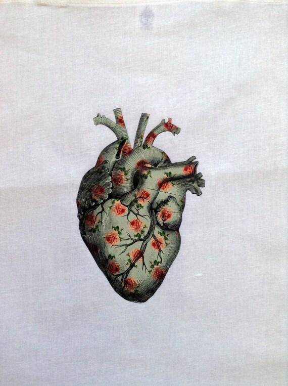Artículos similares a Corazón Anatómico Flores - Bolsa - Mochila en Etsy