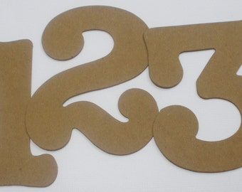 """3.5"""" BOUTiQUE Chipboard Numbers - Bare Chipboard Die Cuts -- 3.5"""" Tall - Wedding Table Numbers"""