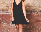Lingerie Organic Nightgown/nightie/ slip -Black bamboo sleepwear/ pajamas / also makes perfect maternity nightie