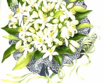 Vintage Flower Print - Botanical Print - Orange Tree - Orange Blossom - The Language of Flowers - Flower Wall Art - Marilena Pistoia