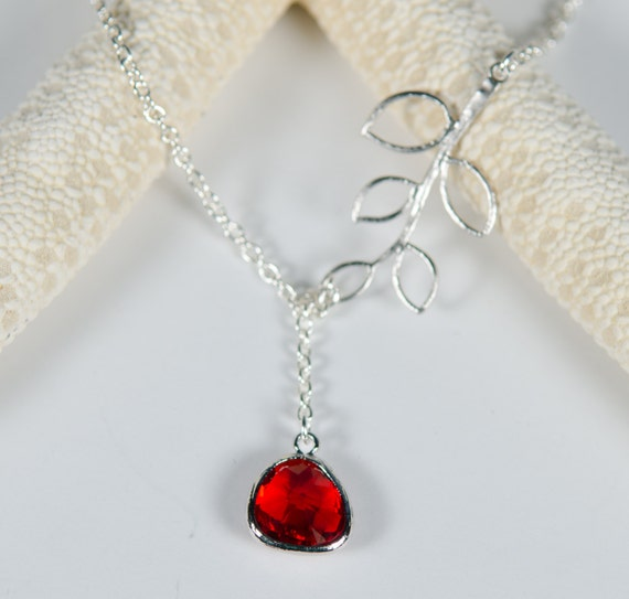 Lariet necklace | Red | Branch | Silver | Handmade, glass, unique, nature-inspired, pendant, crystal, ruby, jewelry, Santa Cruz,