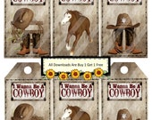 Cowboy 1333 Tags Printable Digital Collage Sheet