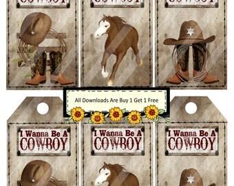 Cowboy 1333 Tags Printable Digital Collage Sheet