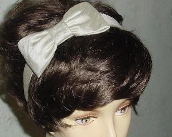 Sage Green Silk Dupioni Headband with Bow Ready to Ship